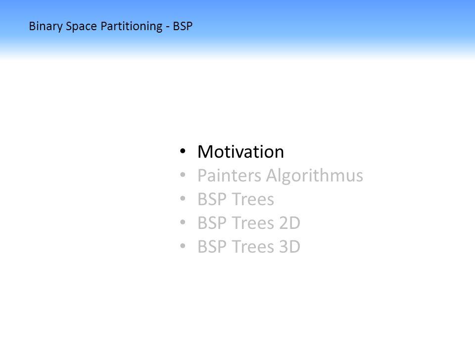 Binary Space Partitioning - BSP BSP Trees Wie können wir aus einem BSP Tree mittels PA unsere Szene erstellen?
