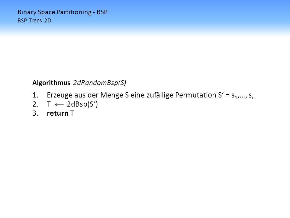 Binary Space Partitioning - BSP BSP Trees 2D Algorithmus 2dRandomBsp(S) 1.Erzeuge aus der Menge S eine zufällige Permutation S = s 1,…, s n 2.T 2dBsp(
