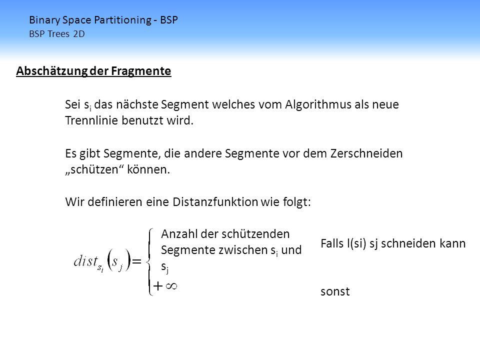 Wir definieren eine Distanzfunktion wie folgt: Anzahl der schützenden Segmente zwischen s i und s j Binary Space Partitioning - BSP BSP Trees 2D Absch