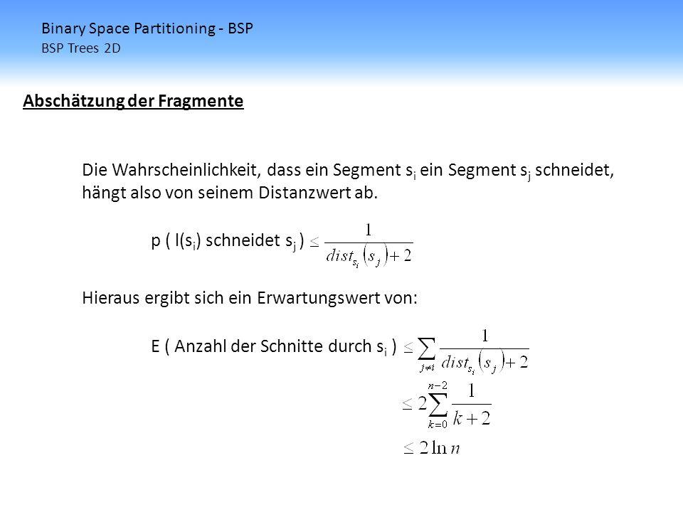 Binary Space Partitioning - BSP BSP Trees 2D Abschätzung der Fragmente Die Wahrscheinlichkeit, dass ein Segment s i ein Segment s j schneidet, hängt a