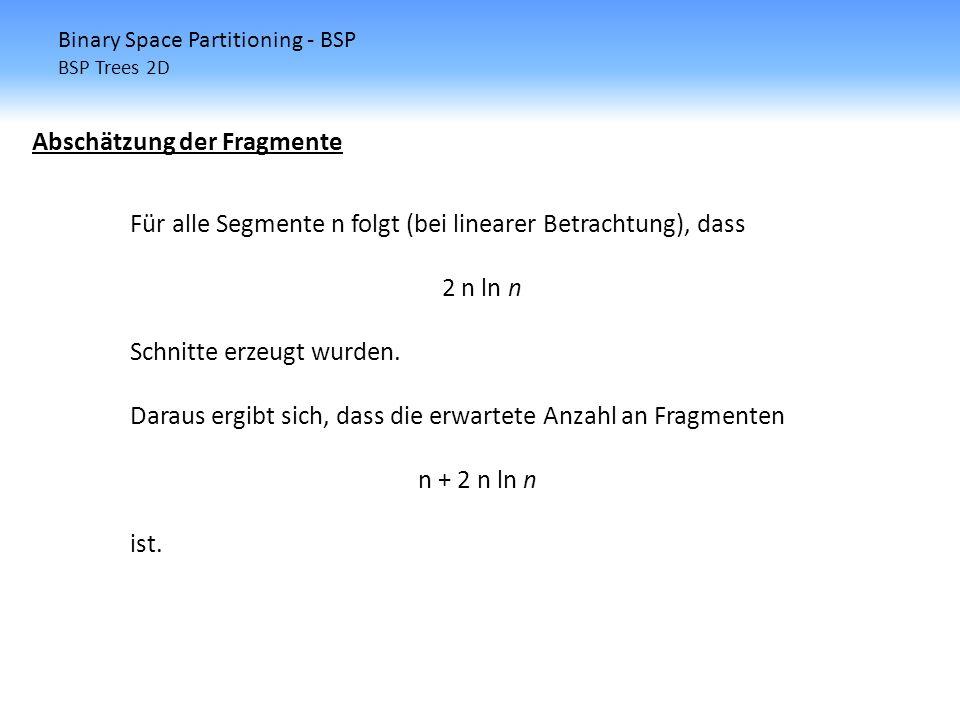 Binary Space Partitioning - BSP BSP Trees 2D Abschätzung der Fragmente Für alle Segmente n folgt (bei linearer Betrachtung), dass 2 n ln n Schnitte er