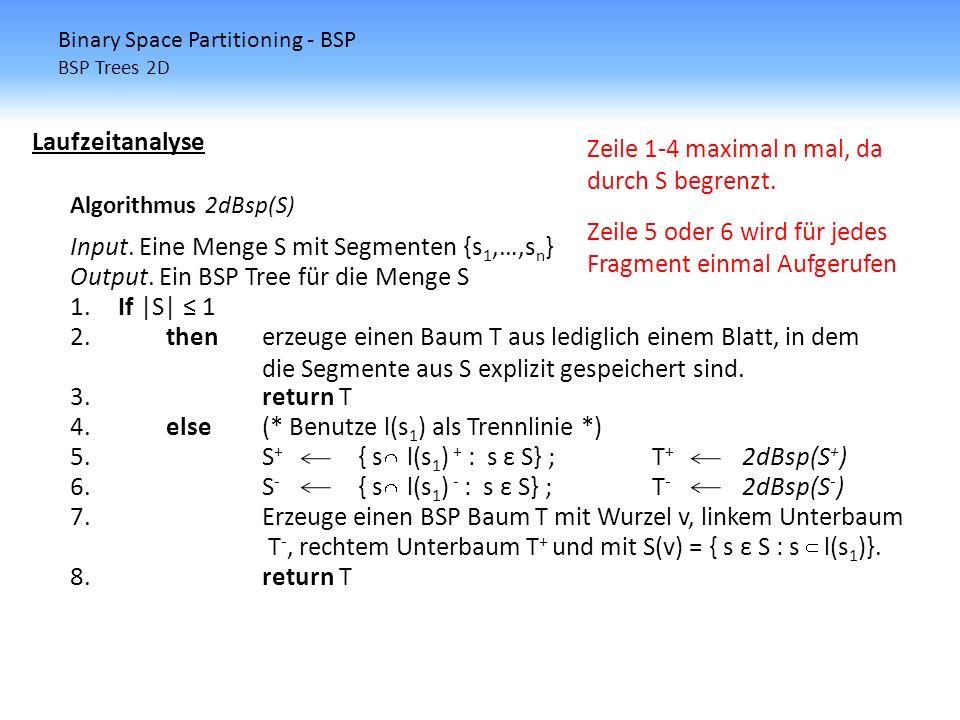 Binary Space Partitioning - BSP BSP Trees 2D Laufzeitanalyse Algorithmus 2dBsp(S) Input. Eine Menge S mit Segmenten {s 1,…,s n } Output. Ein BSP Tree