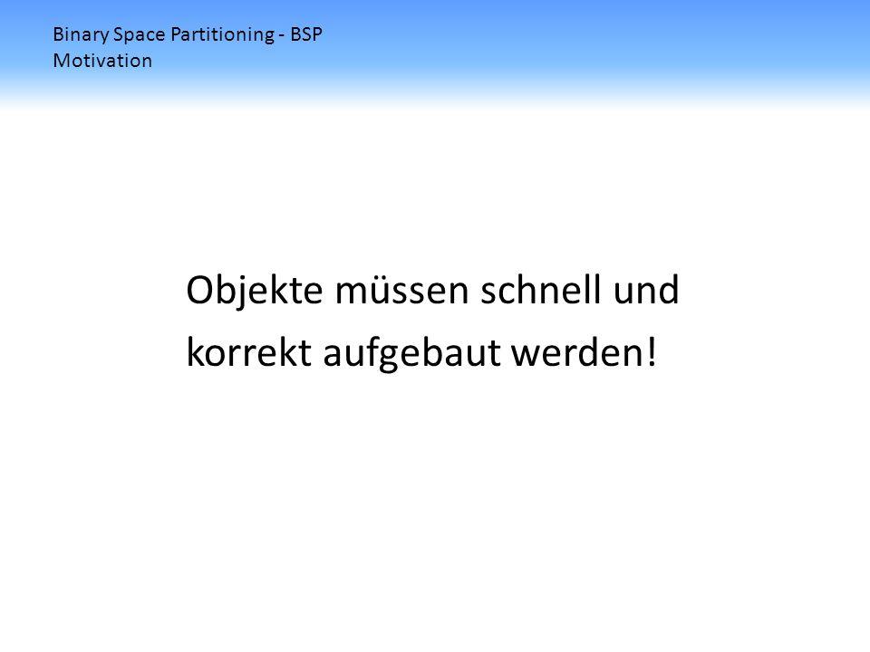 Binary Space Partitioning - BSP Motivation z-Buffer Algorithmus 1.Die Szene wird so transformiert, dass die Blickrichtung die positive z-Achse ist.
