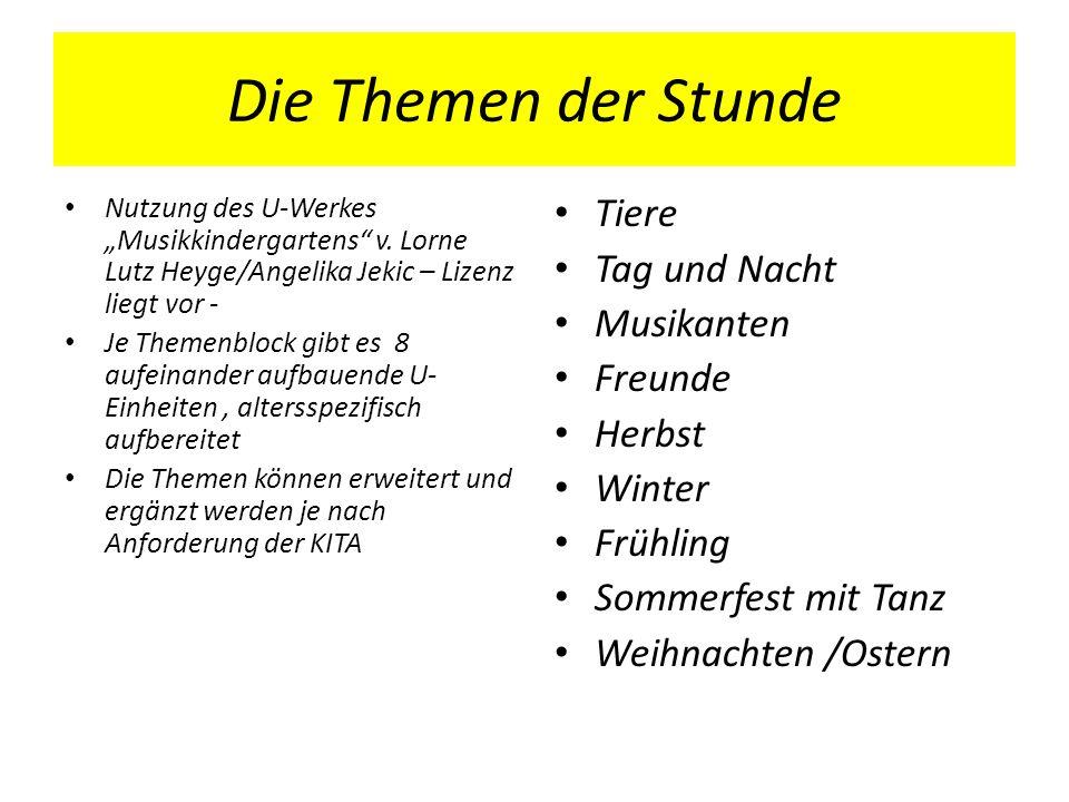 Die Themen der Stunde Nutzung des U-Werkes Musikkindergartens v. Lorne Lutz Heyge/Angelika Jekic – Lizenz liegt vor - Je Themenblock gibt es 8 aufeina