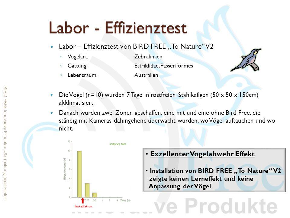 Labor - Effizienztest Labor – Effizienztest von BIRD FREE To Nature V2 Vogelart:Zebrafinken Gattung:Estrildidae, Passeriformes Lebensraum: Australien