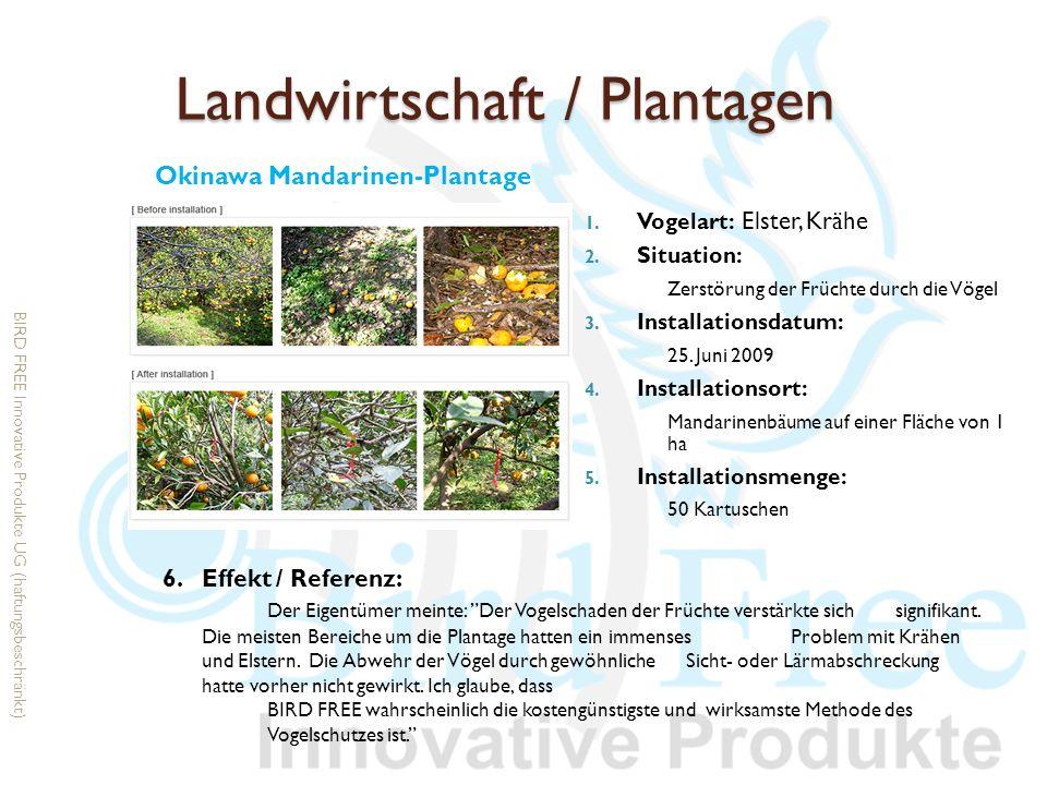 Landwirtschaft / Plantagen 1. Vogelart: Elster, Krähe 2. Situation: Zerstörung der Früchte durch die Vögel 3. Installationsdatum: 25. Juni 2009 4. Ins