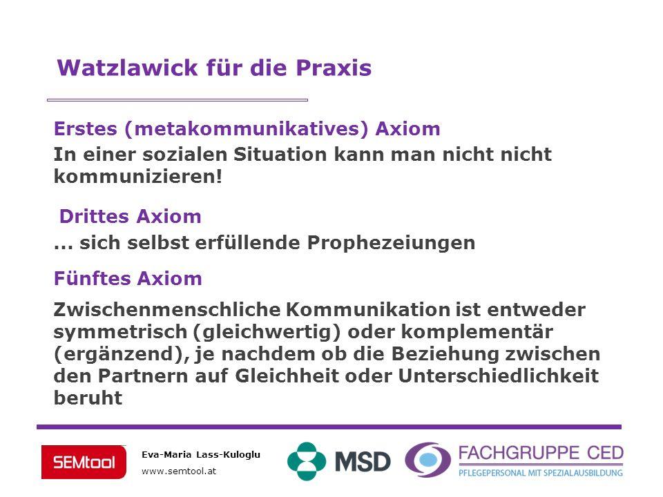 Eva-Maria Lass-Kuloglu www.semtool.at Watzlawick für die Praxis Erstes (metakommunikatives) Axiom In einer sozialen Situation kann man nicht nicht kom
