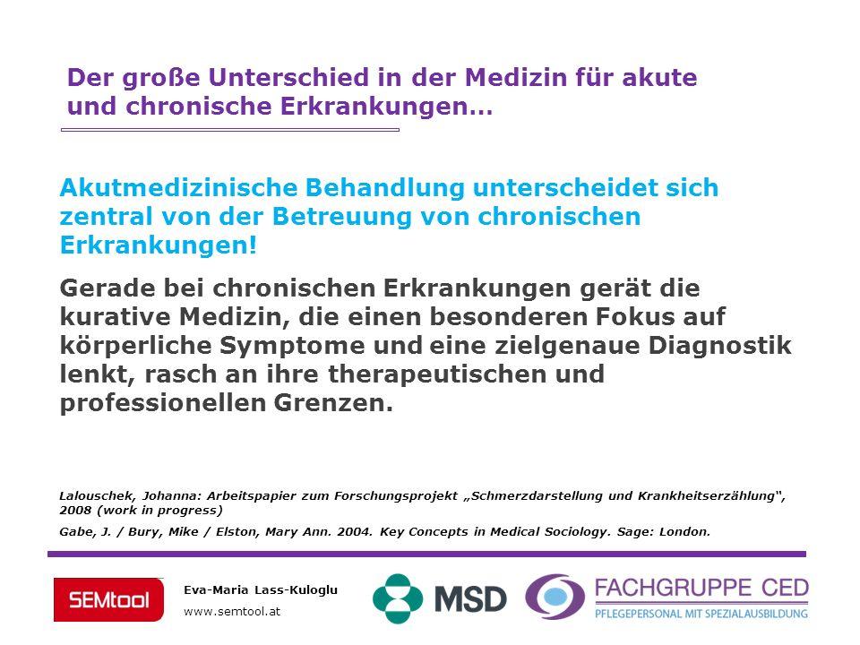 Eva-Maria Lass-Kuloglu www.semtool.at Der große Unterschied in der Medizin für akute und chronische Erkrankungen… Akutmedizinische Behandlung untersch