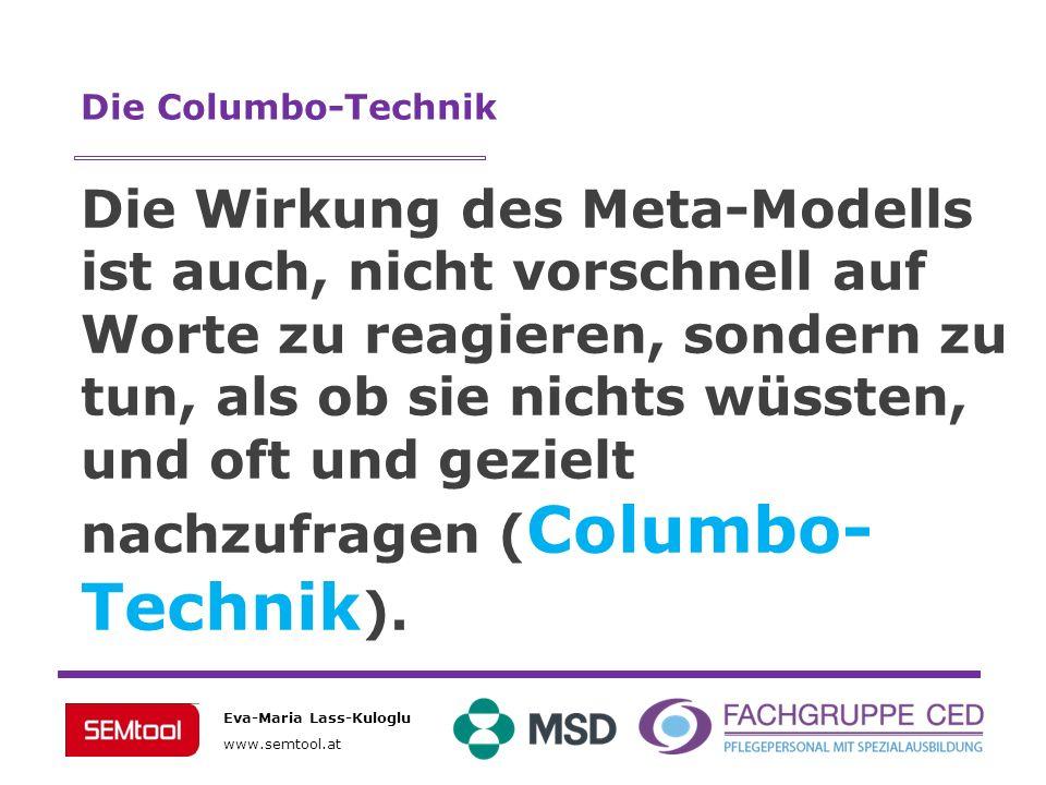 Eva-Maria Lass-Kuloglu www.semtool.at Die Wirkung des Meta-Modells ist auch, nicht vorschnell auf Worte zu reagieren, sondern zu tun, als ob sie nicht