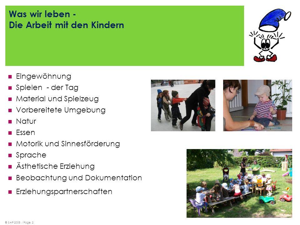 © SAP 2008 / Page 2 Was wir leben - Die Arbeit mit den Kindern Eingewöhnung Spielen - der Tag Material und Spielzeug Vorbereitete Umgebung Natur Essen