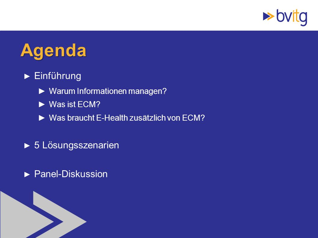 2 Agenda Einführung Warum Informationen managen? Was ist ECM? Was braucht E-Health zusätzlich von ECM? 5 Lösungsszenarien Panel-Diskussion