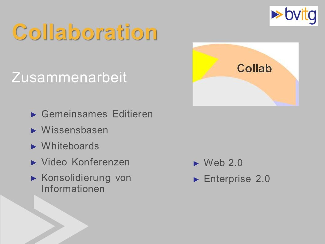 20 Collaboration Collaboration Zusammenarbeit Gemeinsames Editieren Wissensbasen Whiteboards Video Konferenzen Konsolidierung von Informationen Web 2.
