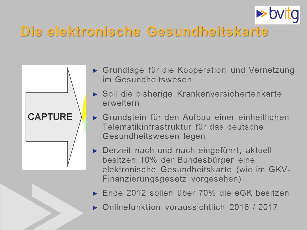 36 Die elektronische Gesundheitskarte Grundlage für die Kooperation und Vernetzung im Gesundheitswesen Soll die bisherige Krankenversichertenkarte erw