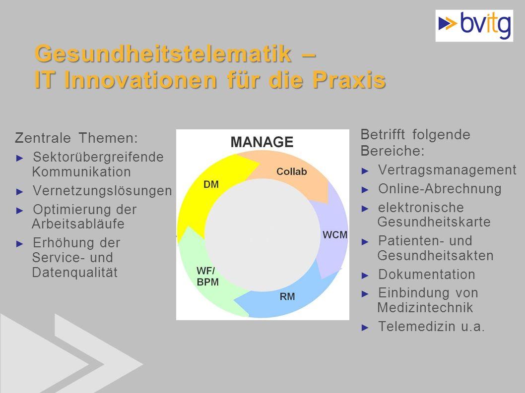 39 Gesundheitstelematik – IT Innovationen für die Praxis Zentrale Themen: Sektorübergreifende Kommunikation Vernetzungslösungen Optimierung der Arbeit