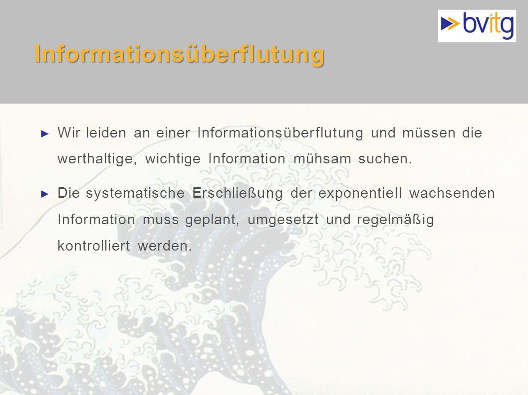 4 Informationsüberflutung Wir leiden an einer Informationsüberflutung und müssen die werthaltige, wichtige Information mühsam suchen. Die systematisch