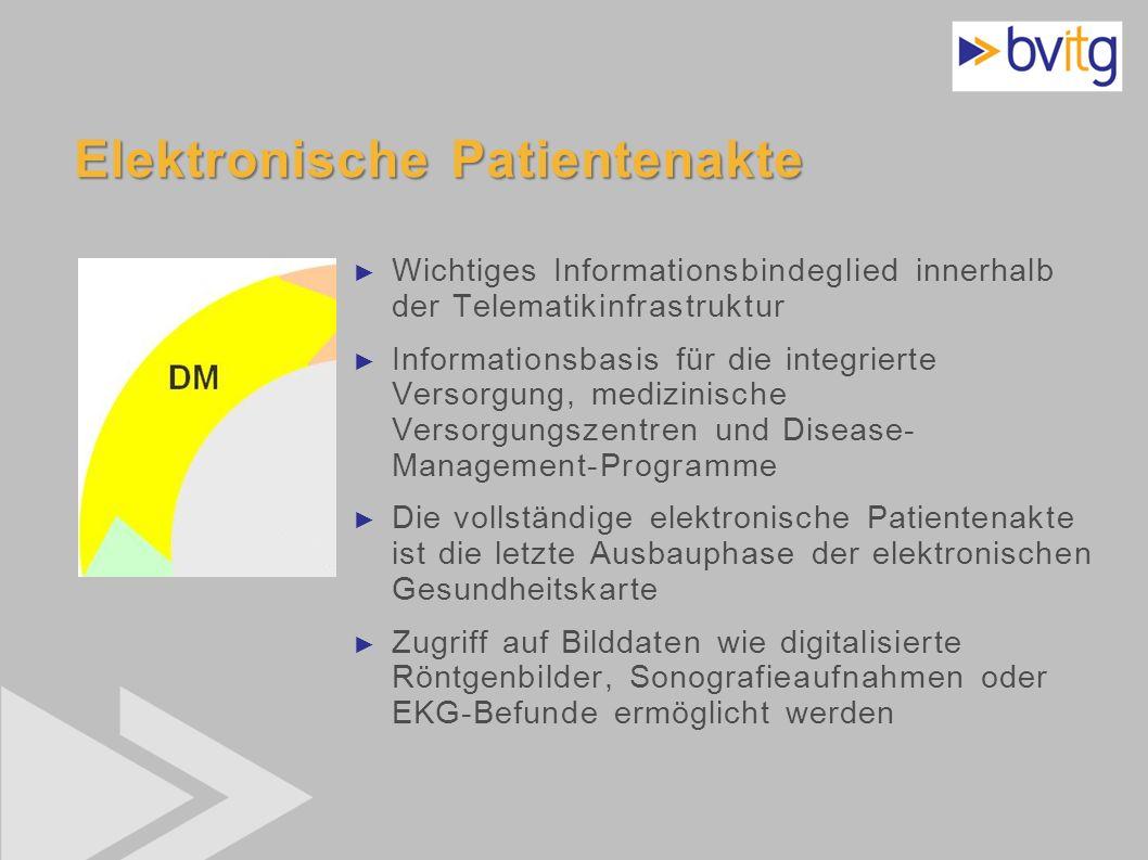 40 Elektronische Patientenakte Wichtiges Informationsbindeglied innerhalb der Telematikinfrastruktur Informationsbasis für die integrierte Versorgung,