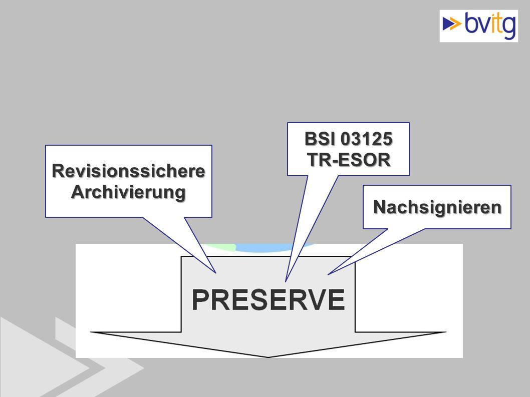 43 Revisionssichere Archivierung BSI 03125 TR-ESOR Nachsignieren