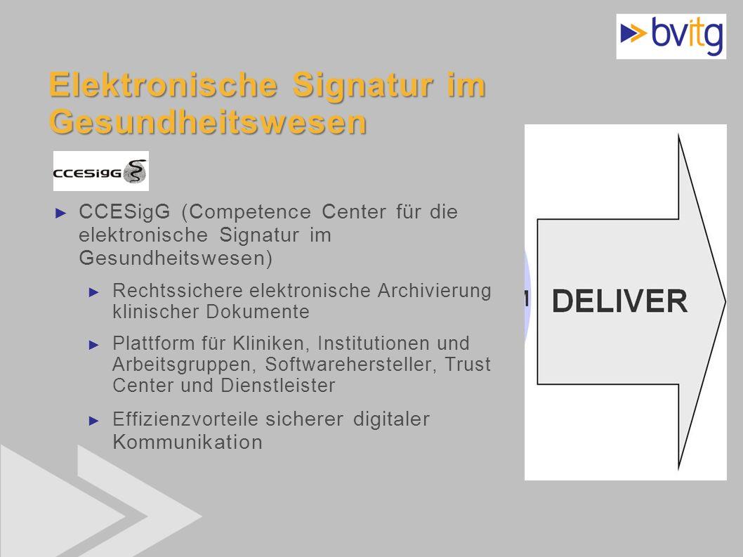 45 Elektronische Signatur im Gesundheitswesen CCESigG (Competence Center für die elektronische Signatur im Gesundheitswesen) Rechtssichere elektronisc