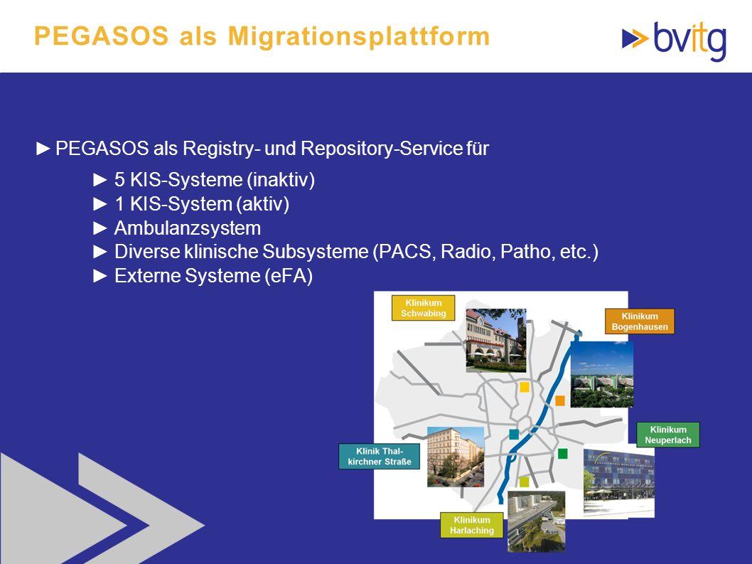 58 PEGASOS als Registry- und Repository-Service für 5 KIS-Systeme (inaktiv) 1 KIS-System (aktiv) Ambulanzsystem Diverse klinische Subsysteme (PACS, Ra
