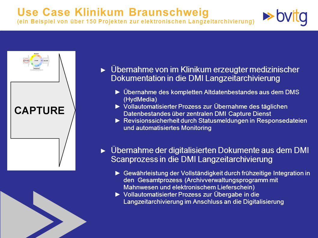 65 Use Case Klinikum Braunschweig (ein Beispiel von über 150 Projekten zur elektronischen Langzeitarchivierung) Übernahme von im Klinikum erzeugter me
