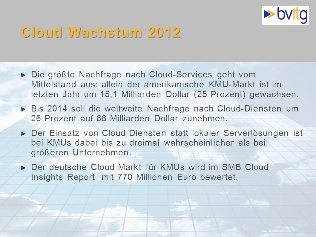8 Cloud Wachstum 2012 Die größte Nachfrage nach Cloud-Services geht vom Mittelstand aus: allein der amerikanische KMU-Markt ist im letzten Jahr um 15,