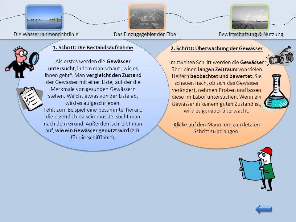 1. Schritt: Die Bestandsaufnahme Als erstes werden die Gewässer untersucht, indem man schaut wie es ihnen geht. Man vergleicht den Zustand der Gewässe