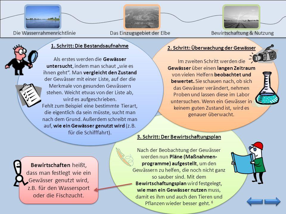 2. Schritt: Überwachung der Gewässer Im zweiten Schritt werden die Gewässer über einen langen Zeitraum von vielen Helfern beobachtet und bewertet. Sie