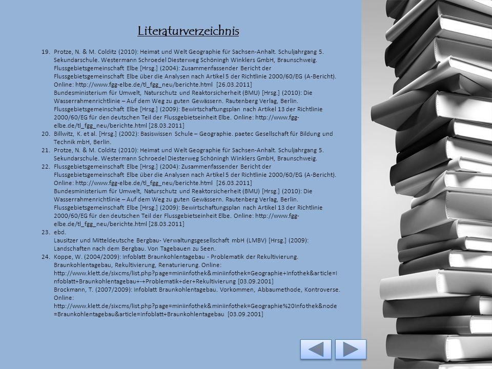Literaturverzeichnis 7.Flussgebietsgemeinschaft Elbe [Hrsg.] (2004): Zusammenfassender Bericht der Flussgebietsgemeinschaft Elbe über die Analysen nac