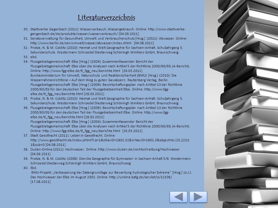 Literaturverzeichnis 25.Internationale Kommission zum Schutz der Elbe (IKSE) [Hrsg.] (2005): Die Elbe und ihr Einzugsgebiet – Ein geographisch-hydrolo