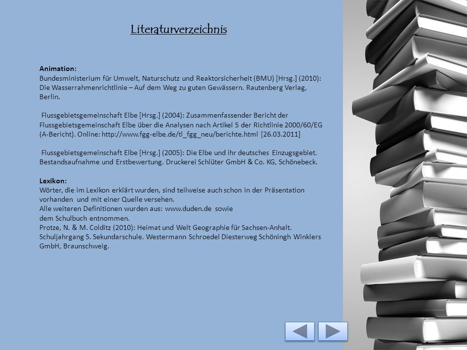 Literaturverzeichnis 1. Tonaufnahme: Elbe Flussgebietsgemeinschaft Elbe [Hrsg.] (2004): Zusammenfassender Bericht der Flussgebietsgemeinschaft Elbe üb