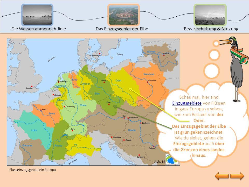 Auf dieser Karte siehst du das Einzugsgebiet der Elbe, also die Elbe mit all ihren Nebenflüssen. In Deutschland liegen 10 der 16 Bundesländer teilweis