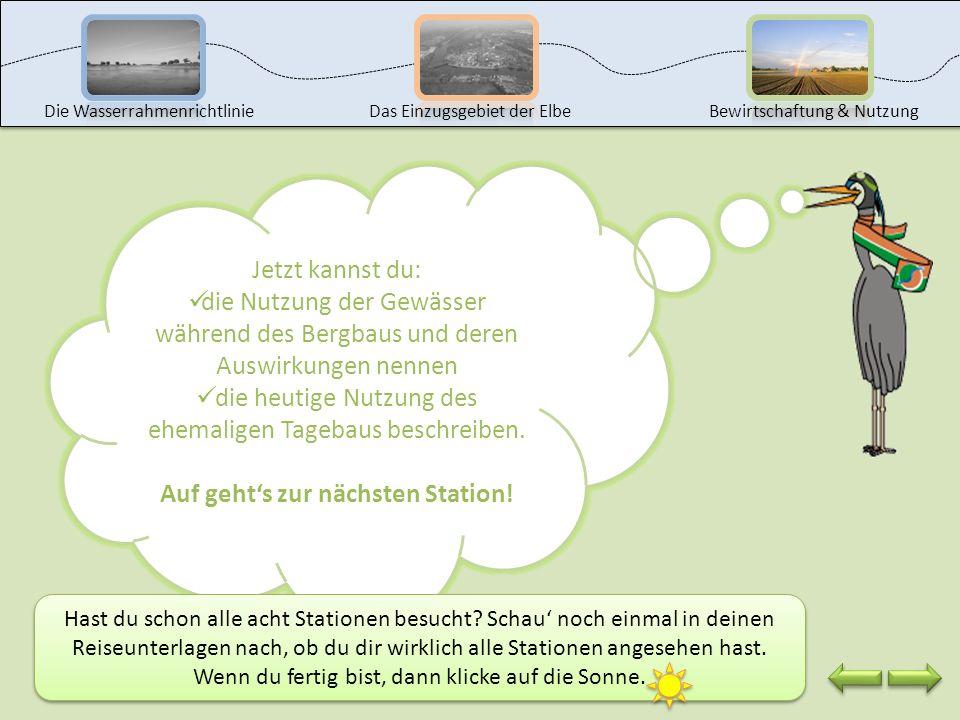 Beschreibe, wie die ehemaligen Tagebaue heute genutzt werden. Notiere deine Überlegungen in deinen Reiseunterlagen bei Bergbau Aufgabe 2. Du kannst ge