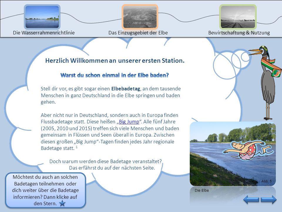 Du kannst nun die Reise beginnen, indem du auf die erste Station klickst. Die Wasserrahmenrichtlinie Das Einzugsgebiet der Elbe Bewirtschaftung & Nutz