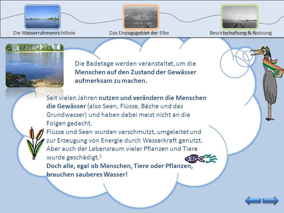 Die WasserrahmenrichtlinieDas Einzugsgebiet der ElbeBewirtschaftung & Nutzung Möchtest du auch an solchen Badetagen teilnehmen oder dich weiter über d