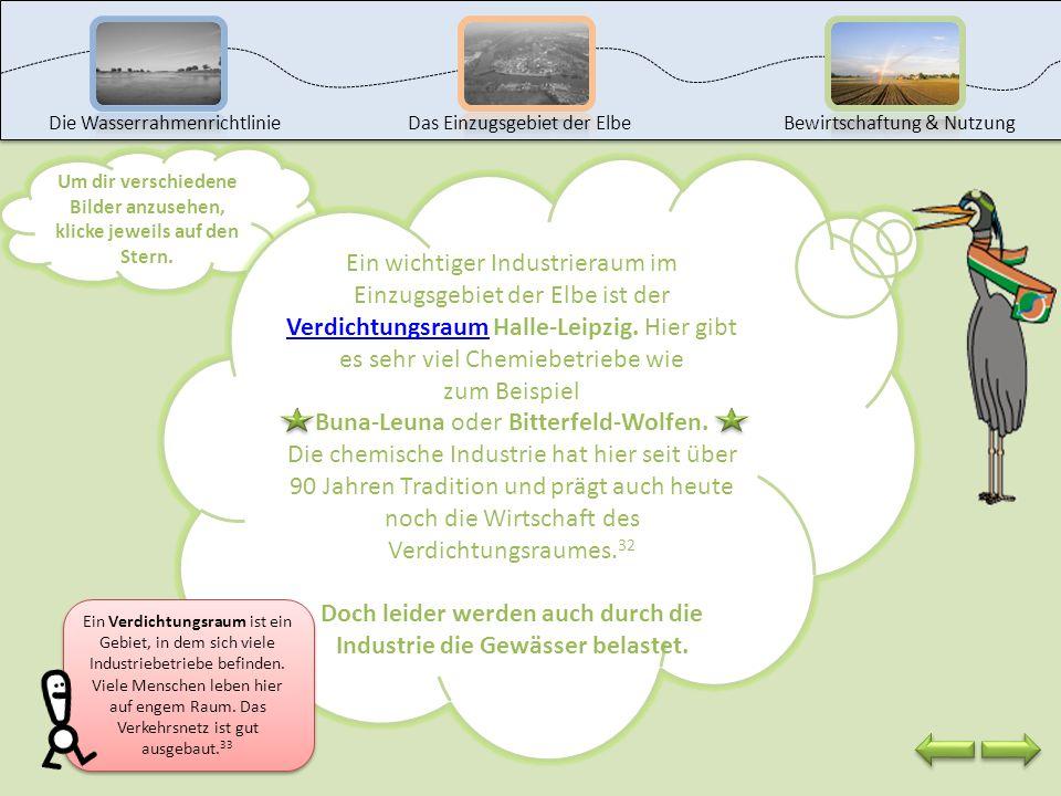 Jetzt sind wir auch schon an der Station Industrie. Wo gibt es im Einzugsgebiet der Elbe Industriegebiete? Nenne mindestens drei Gebiete und ermittle