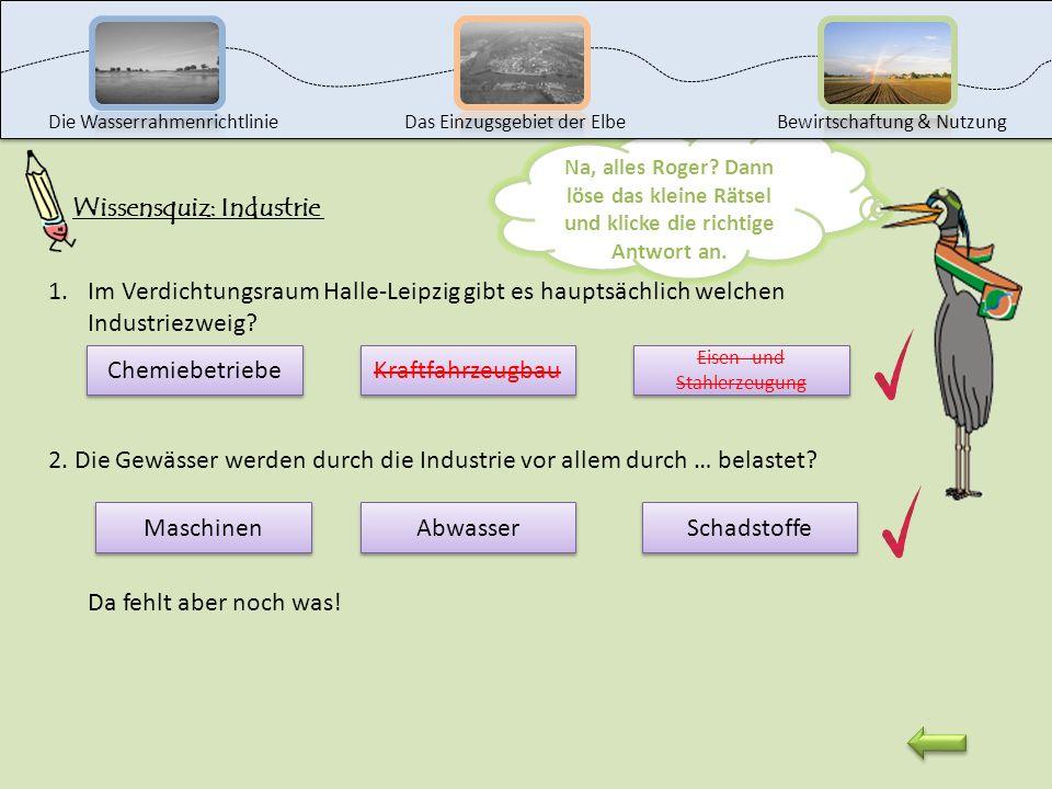Die WasserrahmenrichtlinieDas Einzugsgebiet der ElbeBewirtschaftung & Nutzung Das war leider falsch. Klicke auf den Pfeil, um es noch einmal zu versuc