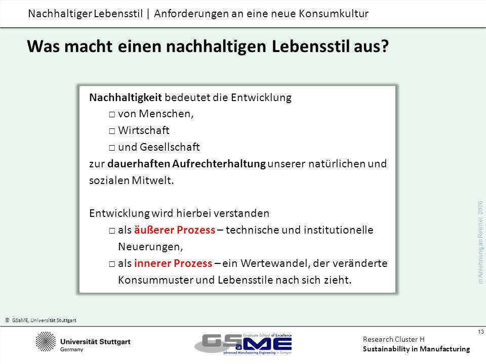 © GSaME, Universität Stuttgart 13 Research Cluster H Sustainability in Manufacturing Nachhaltiger Lebensstil | Anforderungen an eine neue Konsumkultur