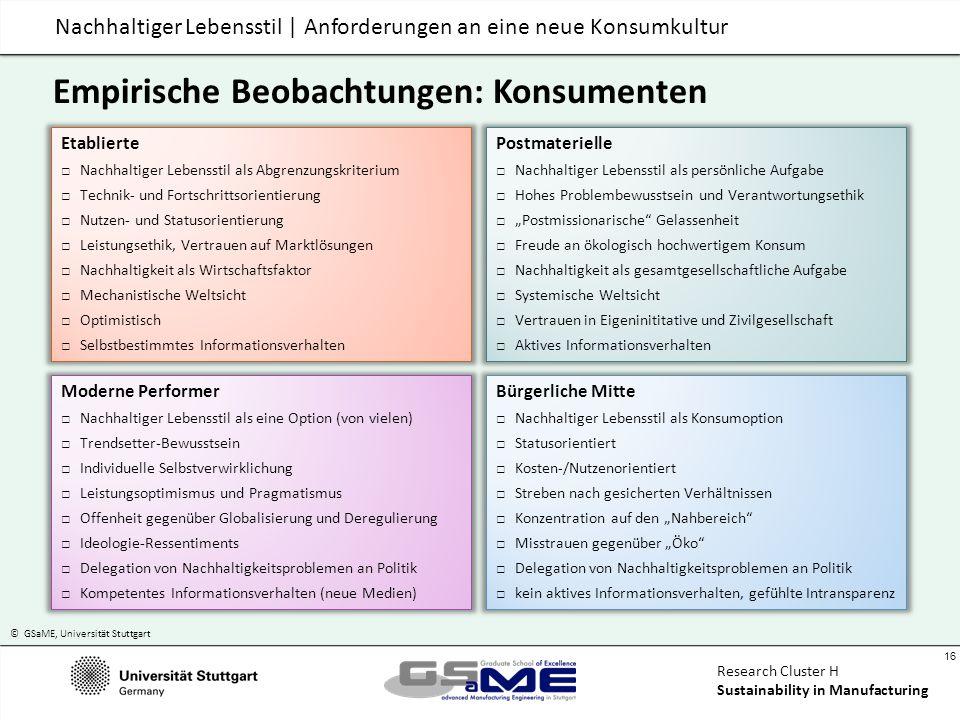 © GSaME, Universität Stuttgart 16 Research Cluster H Sustainability in Manufacturing Nachhaltiger Lebensstil | Anforderungen an eine neue Konsumkultur