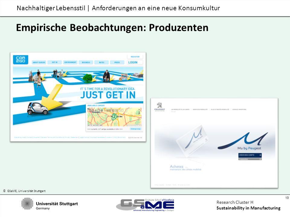 © GSaME, Universität Stuttgart 19 Research Cluster H Sustainability in Manufacturing Nachhaltiger Lebensstil | Anforderungen an eine neue Konsumkultur