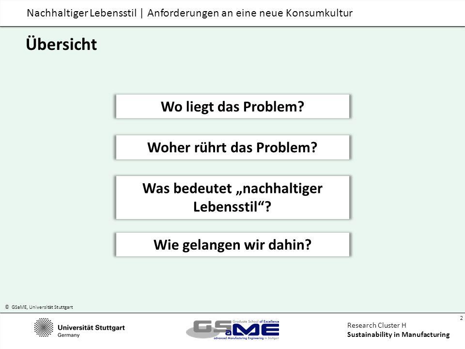 © GSaME, Universität Stuttgart 23 Research Cluster H Sustainability in Manufacturing Manufacturing as if people and planet matter Nachhaltiger Lebensstil Anforderungen an eine neue Konsumkultur HoC/KIT, Karlsruhe, 3.