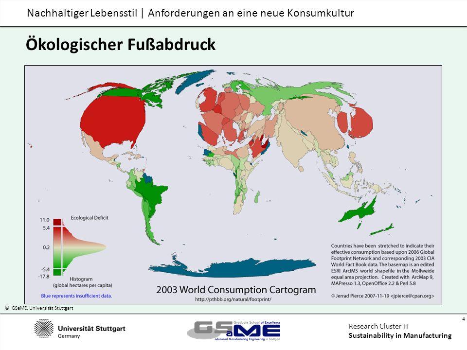 © GSaME, Universität Stuttgart 15 Research Cluster H Sustainability in Manufacturing Nachhaltiger Lebensstil | Anforderungen an eine neue Konsumkultur Empirische Beobachtungen: Konsumenten Hohe Umweltaffinität + Leitbild- und Multiplikatorfunktion