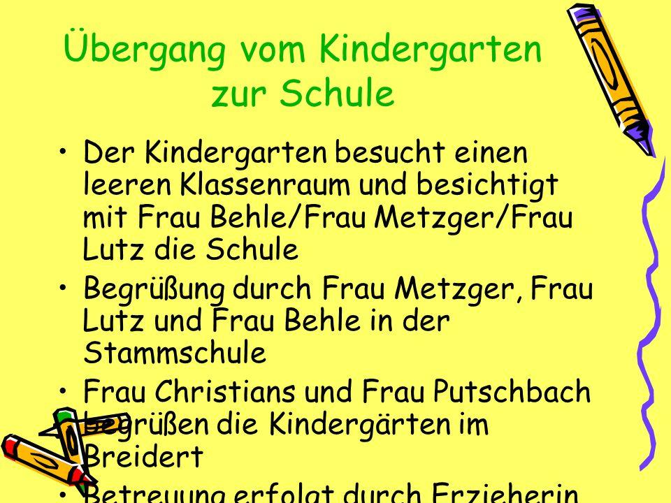 Übergang vom Kindergarten zur Schule Der Kindergarten besucht einen leeren Klassenraum und besichtigt mit Frau Behle/Frau Metzger/Frau Lutz die Schule