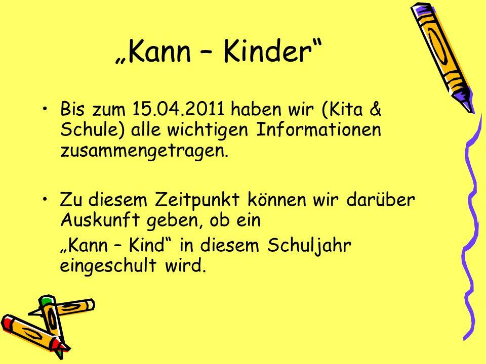 Kann – Kinder Bis zum 15.04.2011 haben wir (Kita & Schule) alle wichtigen Informationen zusammengetragen. Zu diesem Zeitpunkt können wir darüber Ausku