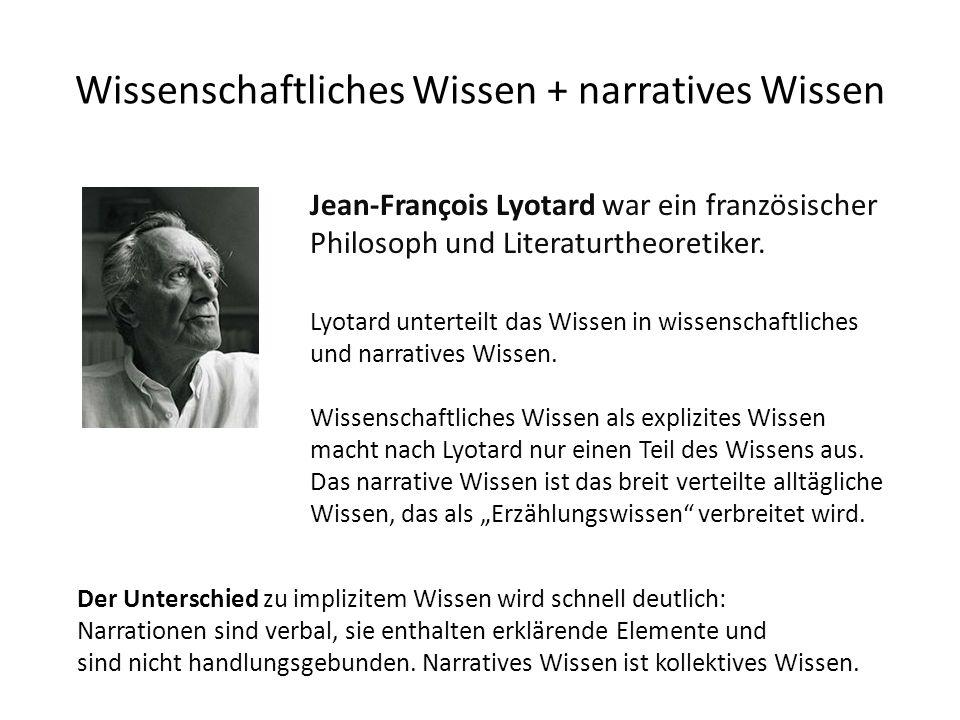Wissenschaftliches Wissen + narratives Wissen Jean-François Lyotard war ein französischer Philosoph und Literaturtheoretiker. Lyotard unterteilt das W