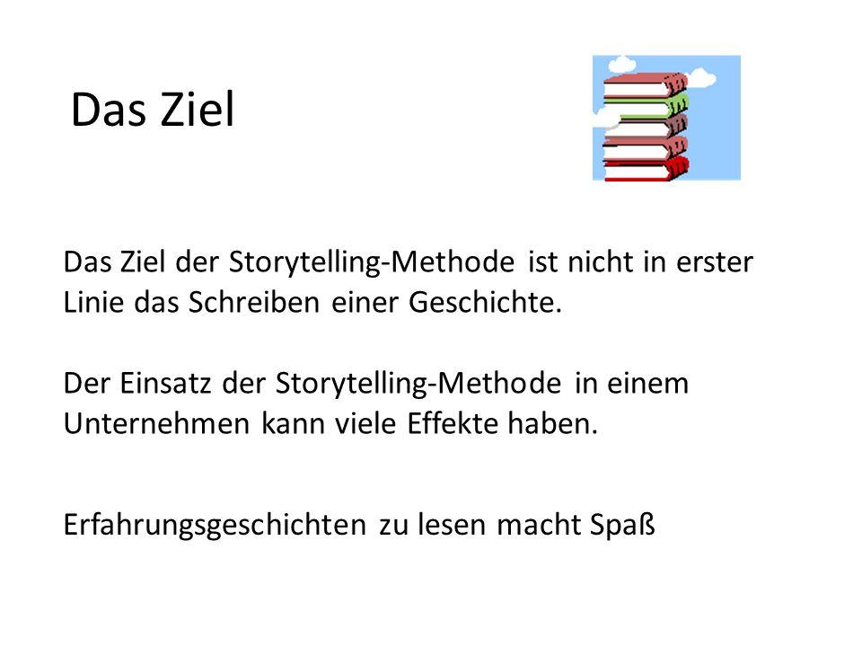 Das Ziel Das Ziel der Storytelling-Methode ist nicht in erster Linie das Schreiben einer Geschichte. Der Einsatz der Storytelling-Methode in einem Unt