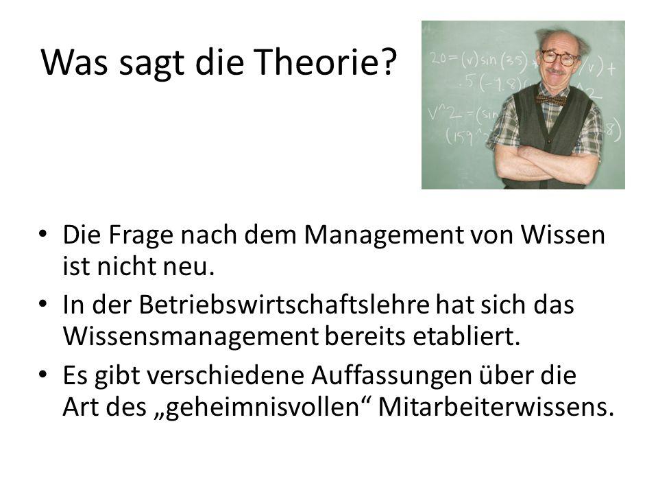 Was sagt die Theorie? Die Frage nach dem Management von Wissen ist nicht neu. In der Betriebswirtschaftslehre hat sich das Wissensmanagement bereits e