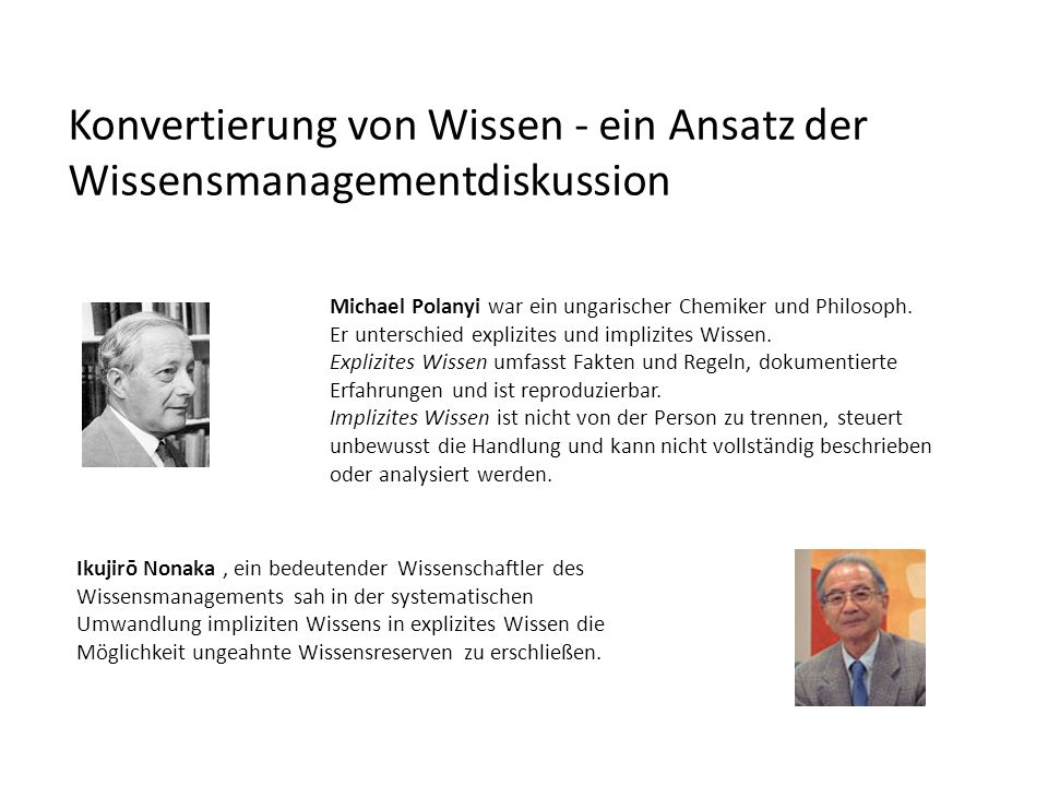 Konvertierung von Wissen - ein Ansatz der Wissensmanagementdiskussion Michael Polanyi war ein ungarischer Chemiker und Philosoph. Er unterschied expli