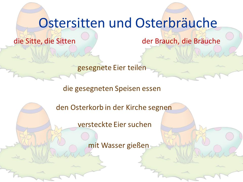Ostersitten und Osterbräuche die Sitte, die Sittender Brauch, die Bräuche mit Wasser gießen versteckte Eier suchen den Osterkorb in der Kirche segnen die gesegneten Speisen essen gesegnete Eier teilen