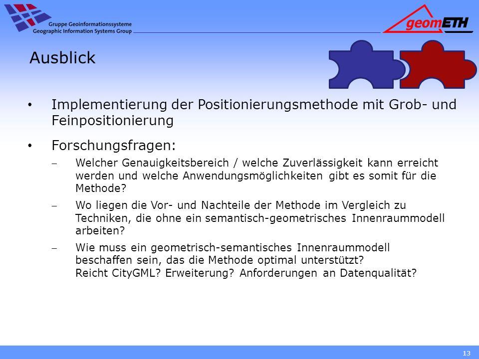 Ausblick Implementierung der Positionierungsmethode mit Grob- und Feinpositionierung Forschungsfragen: Welcher Genauigkeitsbereich / welche Zuverlässi