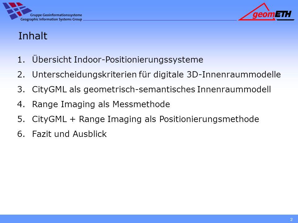 Inhalt 1.Übersicht Indoor-Positionierungssysteme 2.Unterscheidungskriterien für digitale 3D-Innenraummodelle 3.CityGML als geometrisch-semantisches In